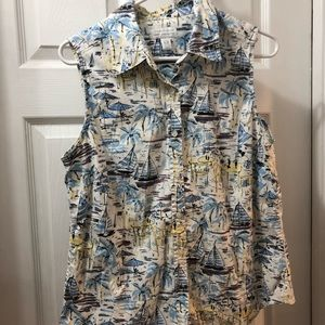 Charter Club sleeveless button up sail boats sz 14